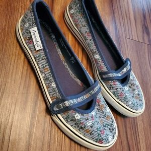 Slip On Floral Canvas Sneakers Flat